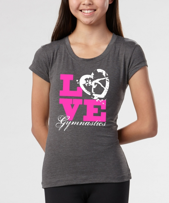 Gymnastics Love Heart </br> Charcoal Soft Tee