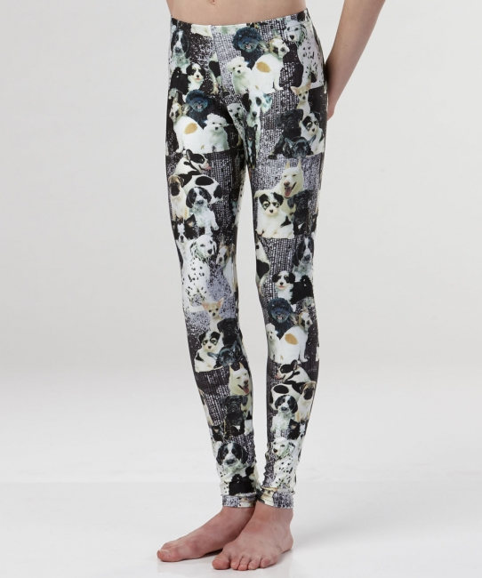 Puppies Leggings </br>Black & White Print